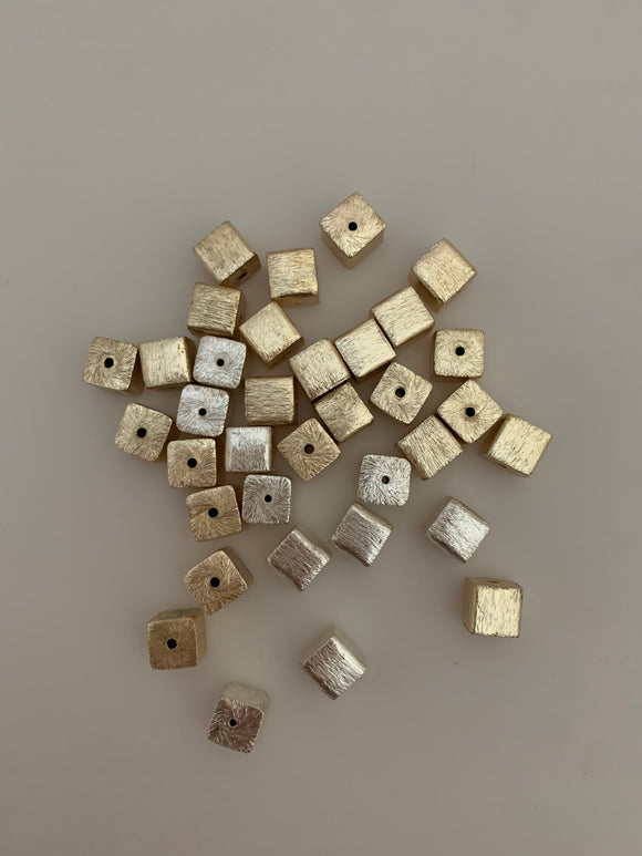 1 Strand of Light weight  Cube Beads, Gold finish And Silver Plated  Brushed Finish, e-coated (about 25 Square Beads)