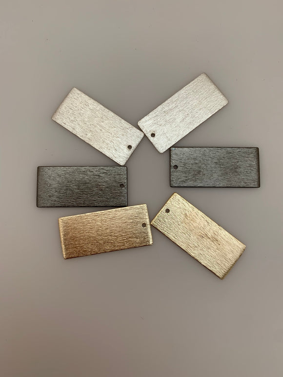 8 Pcs. of Stamping Bar/Rectangular Charms/Pendants in 3 colors (Gold Finish, Gunmetal & Silver Plated) Brushed Finish, Size: 35X16mm
