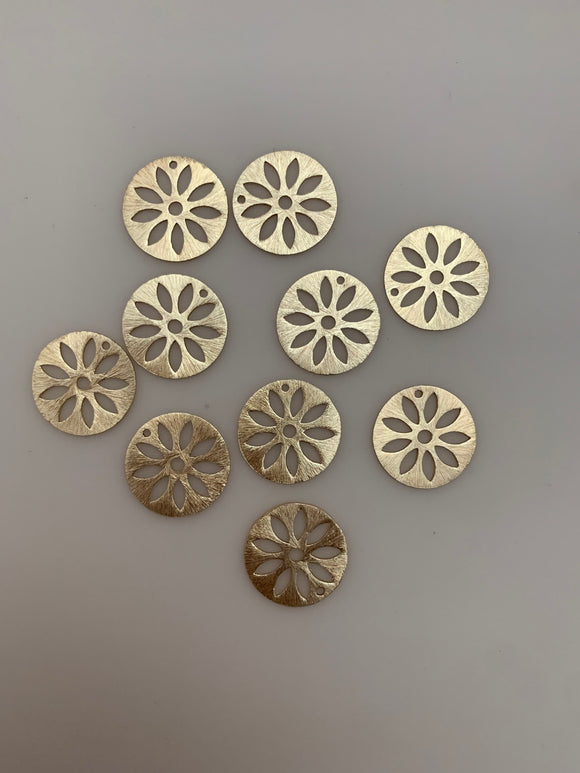 A bag of 10 Pcs Gold Finish ,and Silver Plated  E-coated, Handmade, Brushed Finish Charms sizes :20mm