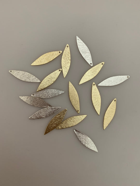 Leaf Findings Gold Finish, Silver Plated, Copper leaf E-coated, Brushed Finish. | Purity Beads