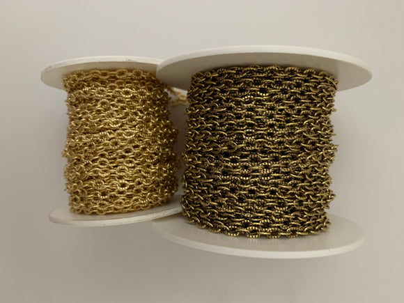 3 Feet of Gold Plated Brass and Natural Brass Cable with Patterned Cable Chain , Smooth Gold Plated and E-Coated Chain. Size: 3.6mmX4.7mm