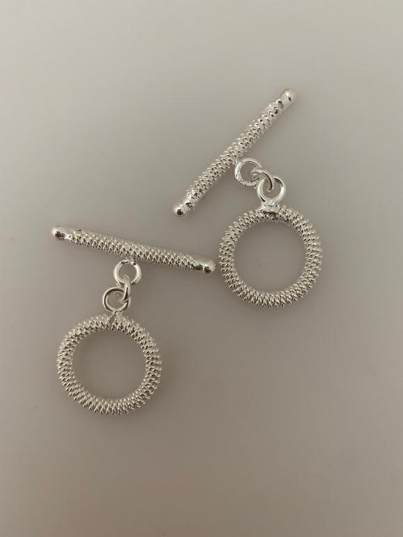 2 Pcs of Sterling Silver Fancy Toggle /Claps  Size : 18mm T-2 SS