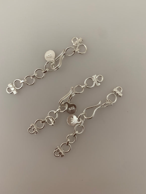 3 Pcs of set Sterling Silver S Hook OR S -Lock Extention Size :60mm H-S SS
