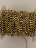 3 Feet of Gold Plated Brass Chain. Rolo With Half Round Chain, Smooth and Half Round Wire chain.Gold Plated E-Coated. Size:2.2mm (#025GO)