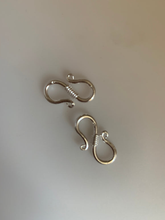 5 Pcs Of Pack Sterling Silver S Hooks/Claps Size 19mmX11 H-5SS
