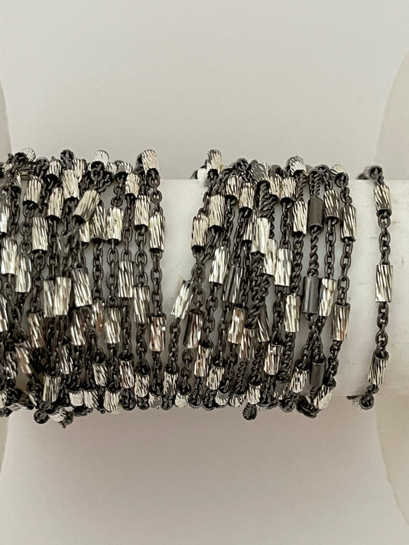 3 Feet of Black Rhodium Plated Sterling 92.5 Two Tone Cable Chain Sterling Silver Size :1.8mm #087 Sterling Silver
