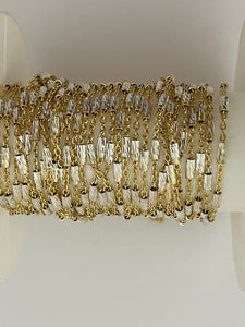 3 Feet of 925  Yellow Gold Cable  With Crimped D/C Tube in white Raw Silver Chain Size: 1.8mm( #84 Yellow gold  Silver Chain)
