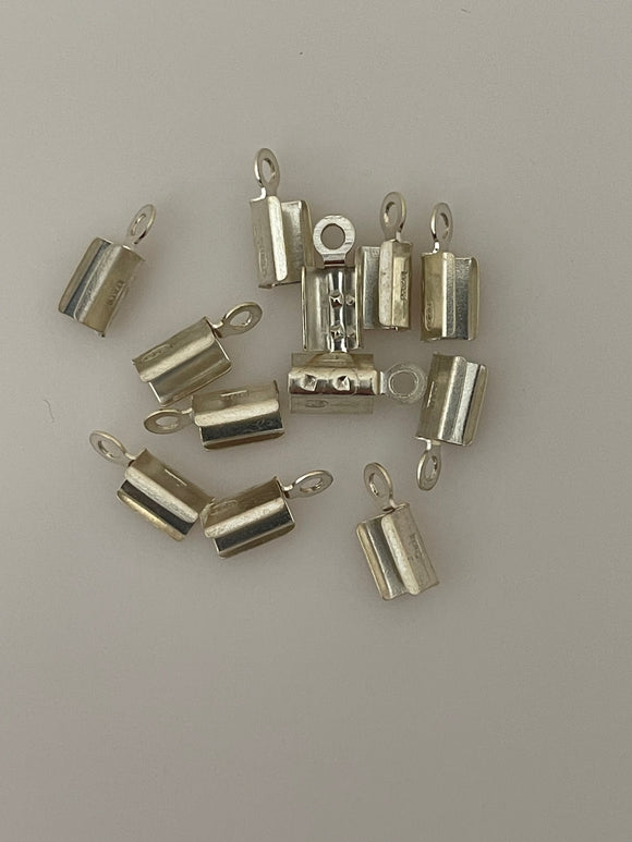 Crimped Ends for Chains, 925 Sterling Silver Crimps /Crimped End Caps in 6 Sizes: 0.45mmTo 2.5mm | puritybeads