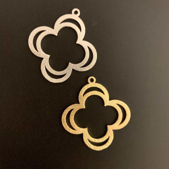 Double Quatrefoils, Clovers (Gold Finished/Silver Plated) | Purity Beads