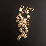 125 Pcs. Gold Finish European   Nuggets Beads E-coated, Brushed Finish, Handmade Components 3mm.#G1022