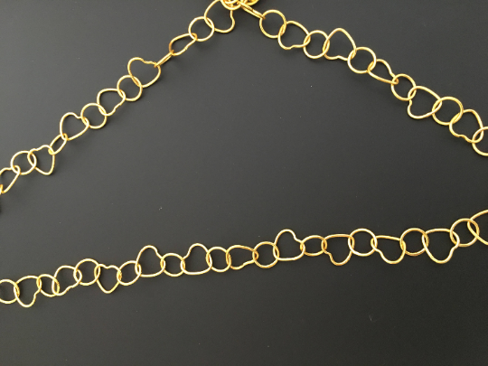 3 Feet of Gold Finish Chains. Handmade and E-coated Chain with heart and circle shapes.