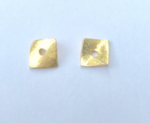 Gold Finish AND Silver Plated, 6mm,to 14mm Square, Brushed Finish, E-coated, Curved Disc (with one hole in the middle) About 90 Pcs.