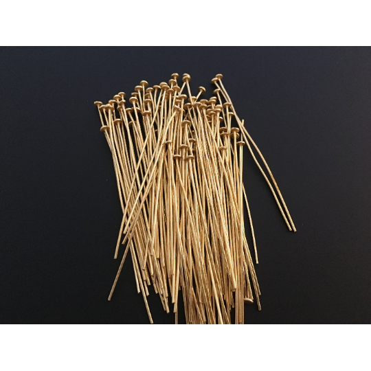 Flat Head Pins (Gold Finished/Silver Plated) | Purity Beads