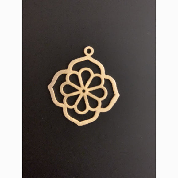 Flower Shaped Pendant (Gold Finished/Silver Plated) | Purity Beads