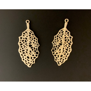 Leaf Earring, Gold  Finish or Silver Plated, E-Coated, Designer Finish, Earring Components #G1012. | Purity Beads.