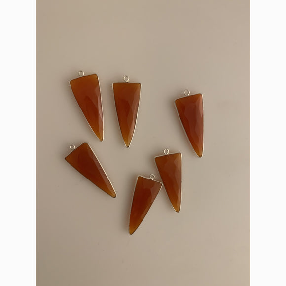 Sterling Silver Laced 925 Natural Carnelian Triangle  Shaped Bezel | Purity Beads