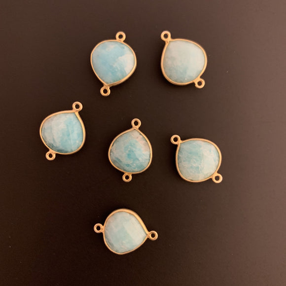 Vermeil  per pack Real Gold Plated over Sterling Silver 925 Natural Amazonite Connector Bezel ,Heart Shape. | Purity Beads.