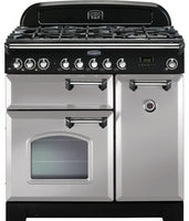 Rangemaster Classic Deluxe CDL90DFFRP/C 90cm Dual Fuel Range Cooker - Royal Pearl/Chrome Trim