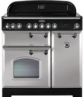 Rangemaster Classic Deluxe CDL90ECRP/C 90cm Electric Range Cooker with Ceramic Hob - Royal Pearl/Chrome Trim