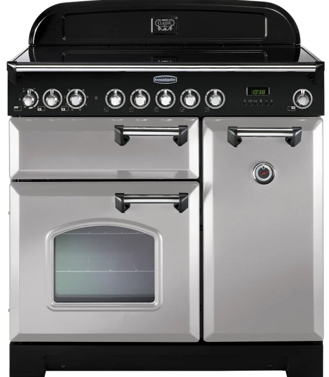 Rangemaster Classic Deluxe CDL90EIRP/C 90cm Electric Range Cooker with Induction Hob - Royal Pearl/Chrome Trim
