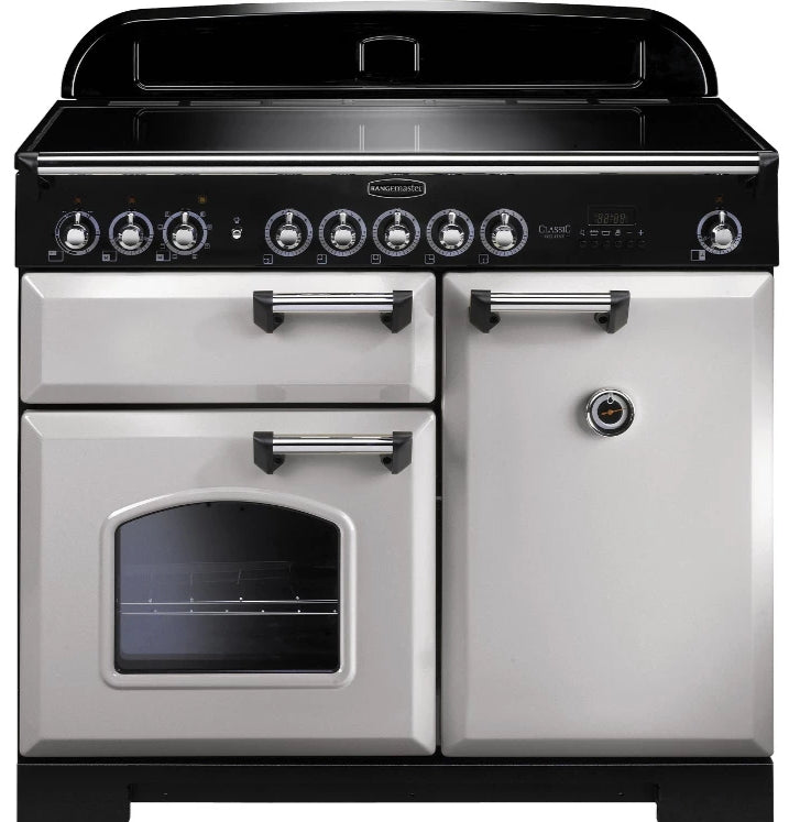 Rangemaster Classic Deluxe CDL100EIRP/C 100cm Electric Range Cooker with Induction Hob - Royal Pearl/Chrome Trim