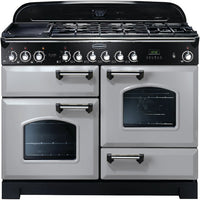 Rangemaster Classic Deluxe CDL110DFFRP/C 110cm Dual Fuel Range Cooker - Royal Pearl/Chrome Trim