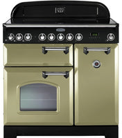 Rangemaster Classic Deluxe CDL90ECOG/C 90cm Electric Range Cooker with Ceramic Hob - Olive Green/Chrome Trim
