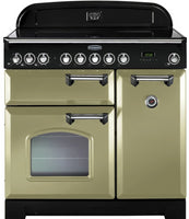 Rangemaster Classic Deluxe CDL90EIOG/C 90cm Electric Range Cooker with Induction Hob - Olive Green/Chrome Trim