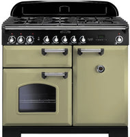 Rangemaster Classic Deluxe CDL100DFFOG/C 100cm Dual Fuel Range Cooker - Olive Green/Chrome Trim
