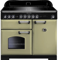 Rangemaster Classic Deluxe CDL100EIOG/C 100cm Electric Range Cooker with Induction Hob - Olive Green/Chrome Trim