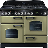 Rangemaster Classic Deluxe CDL110DFFOG/C 110cm Dual Fuel Range Cooker - Olive Green/Chrome Trim
