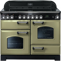 Rangemaster Classic Deluxe CDL110ECOG/C 110cm Electric Range Cooker with Ceramic Hob - Olive Green/Chrome Trim