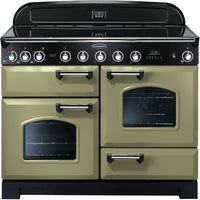 Rangemaster Classic Deluxe CDL110EIOG/C 110cm Electric Range Cooker with Induction Hob - Olive Green