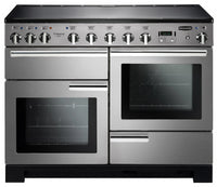 Rangemaster Professional Deluxe PDL110EISS/C 110cm Electric Range Cooker with Induction Hob - Stainless Steel/Chrome Trim