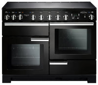 Rangemaster Professional Deluxe PDL110EIGB/C 110cm Electric Range Cooker with Induction Hob - Black/Chrome Trim