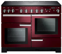 Rangemaster Professional Deluxe PDL110EICY/C 110cm Electric Range Cooker with Induction Hob - Cranberry/Chrome Trim
