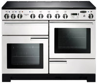 Rangemaster Professional Deluxe PDL110EIWH/C 110cm Electric Range Cooker with Induction Hob - White/Chrome Trim