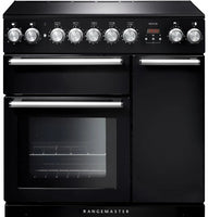 Rangemaster Nexus NEX90EIBL/C 90cm Electric Range Cooker with Induction Hob - Black/Chrome Trim