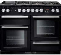 Rangemaster Nexus NEX110DFFBL/C 110cm Dual Fuel Range Cooker - Black/Chrome Trim