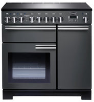 Rangemaster Professional Deluxe PDL90EISL/C 90cm Electric Range Cooker with Induction Hob - Slate/Chrome Trim