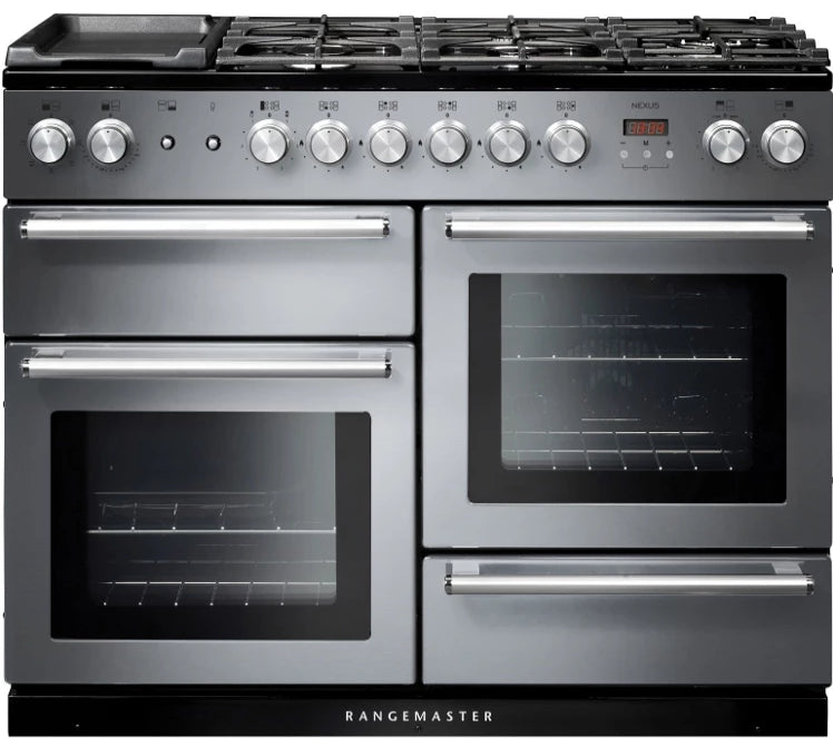 Rangemaster Nexus NEX110DFFSS/C 110cm Dual Fuel Range Cooker - Stainless Steel/Chrome Trim