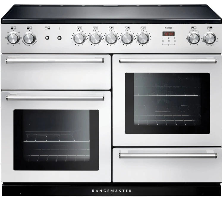 Rangemaster Nexus NEX110EIWH/C 110cm Electric Range Cooker with Induction Hob - White/Chrome Trim