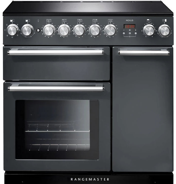 Rangemaster Nexus NEX90EISL/C 90cm Electric Range Cooker with Induction Hob - Slate/Chrome Trim