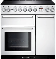 Rangemaster Nexus NEX90EIWH/C 90cm Electric Range Cooker with Induction Hob - White/Chrome Trim