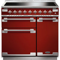 Rangemaster Elise ELS90EIRD 90cm Electric Range Cooker with Induction Hob - Cherry Red/Brushed Chrome Trim