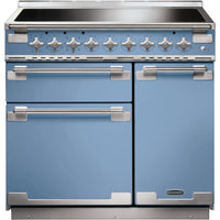 Rangemaster Elise ELS90EICA 90cm Electric Range Cooker with Induction Hob - China Blue/Brushed Chrome Trim