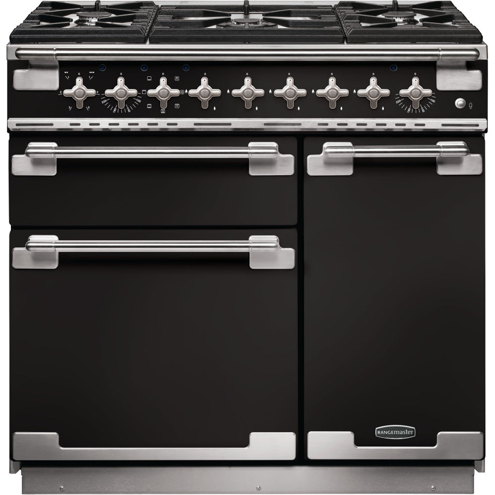 Rangemaster Elise ELS90DFFGB 90cm Dual Fuel Range Cooker - Black/Brushed Chrome Trim