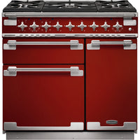 Rangemaster Elise ELS90DFFRD 90cm Dual Fuel Range Cooker - Cherry Red/Brushed Chrome Trim
