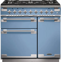 Rangemaster Elise ELS90DFFCA 90cm Dual Fuel Range Cooker - China Blue/Brushed Chrome Trim