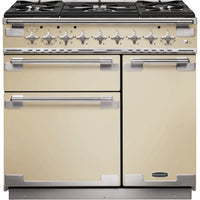 Rangemaster Elise ELS90DFFCR 90cm Dual Fuel Range Cooker - Cream/Brushed Chrome Trim